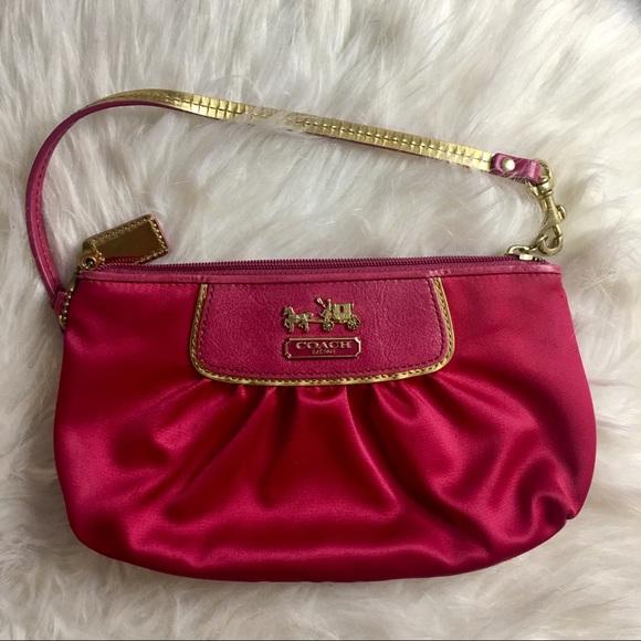 Coach Handbags - Coach | Pink Satin Mini Bag!
